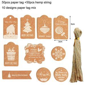50 pcs Lot Christmas Tree Ornaments Wood Chip Snowman Tree Deer Socks Hanging Pendant Christmas Decoration Xmas Gift Crafts GY645