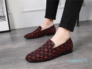 2020 cuir véritable Mode Hommes Mocassins luxe hommes bout pointu chaussures formelles robe d'affaires Slip-on des hommes chaussures de mariage W334