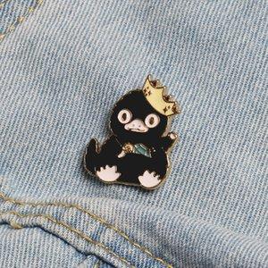 Vf3ZK Kore Pim tarzı siyah damlayan ördek yavrusu broş Karikatür yaratıcı pim çanta dekorasyon sevimli kız ins A- 2377