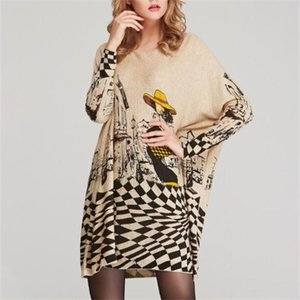 womens clothing ladies big yards knitted sweaters women loose print batwing sleeve o neck long pullover sweater