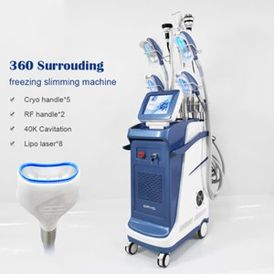 Cryolipolysis machine 5 cryo handles fat freeze slimming treatment fat removal laser liposuction cavitation rf vacuum body slimming machine