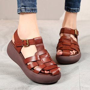 Women's Straight Leather Sandals 2020 Summer New Fashion First Layer Cowhide Casual Thick Sole Women's Shoes Rimocy High Heel