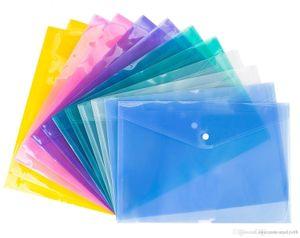4 COLOR A4 Document File Bags with Snap Button transparent Filing Envelopes Plastic file paper Folders 18C