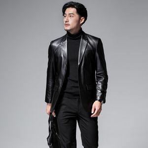 2020 new men's sheepskin leather suit suit leather jacket slim business single autumn coat