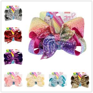 8 Inch Jojo Siwa Sequins Hair pin Girls Barrettes Cute Bowknot Glitter Hair Clips Kids Children Hairclip Headress Hair Accessories D6410