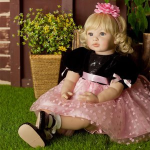 "24"" Beautiful Simulation Baby Golden Curly Girl Wearing Black Powder Skirt Doll"