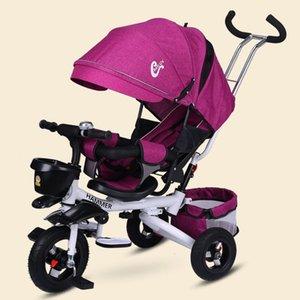 Çok fonksiyonlu Katlama Can Sit ve Lie Çocuk Tekerlekli Bisiklet Bebek Arabası Bisiklet Yatan Koltuk Alanı Tekerlekli Üç Tekerlek Arabası
