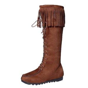 Lace Up ginocchio cuoio di alta Stivali Donna Autunno morbido Fashion Fringe piatto Tacchi stivali lunghi nappa Scarpe Donna Inverno Nizza