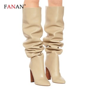 FANAN Women Over The Knee High Slouchy Boots Pointy Toe Chunky Heel Pleated Long Boots Ladies Winter Heeled Shoes Big Size 34-45