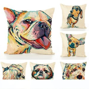2018 Sofa Pillow Case Bull Terrier Painted Pillow dachshund 18 patterns Square Cotton Linen Cheap Cushion Cover For Home