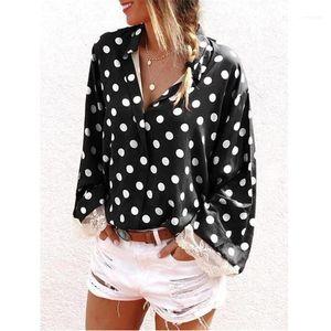 Designer Long Sleeve Famale Casual Lapel Neck Shirt Ladies Cardigan Tops Lace Polka Dot Womens Shirt