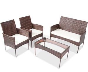 4-teiliges Sectional Rattan Freizeitmöbel Wicker Conversation Garten Rasen im Freien Sofa Set gefederten Sitz gehärtetes Glas Tisch W36812141