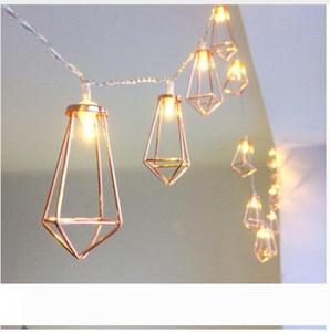 LED Diamond Retro metallo del ferro luci leggiadramente della stringa della batteria di festa di natale della festa nuziale della decorazione della casa 10 LED Lanterna String Lampade
