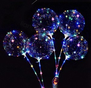LED-Leuchten Balloons Nachtbeleuchtung Bobo-Kugel-Dekoration Ballon Hochzeitsdeko Props Helle Lighter Ballone mit Stock 18cm FFA3193 OBkH #