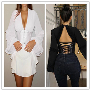 Mulheres V-Neck Backless camiseta luva Lantern Corset Bodycon T Shirt Womens Designer Top Roupa Famale Sexy