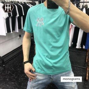 Männer T-Shirt MY Perlen kurze Ärmel Herren-Doppel mercerized Baumwoll-T-Shirt für Männer Marke europäische Waren bestickt