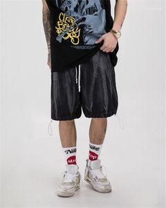 Clothes Hip Hop Style Mens Designer Pants Fashion Washed Bleached Pants Loose Casual Knee Length Pants Men