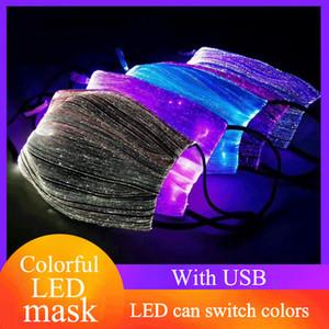 Renk maskesi yanıp sönen koruma renkli LED şarj tasarımcı yüz maskesi değişen parlayan renkli yüz maskesi gece kulübü bar atmosferi