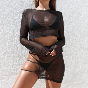 2020 New 2 Piece Set Summer Beachwear Long Sleeve Crop Top T Shirt and Mesh Hollow Out See Trough Skirt Sets Women Fashion Sets