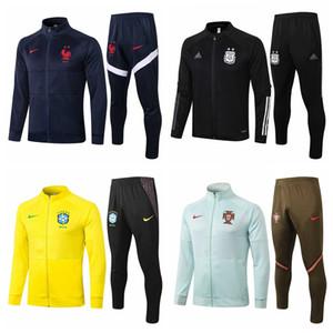 Netherlands Brazil Portugal Spain France 2020 2021 축구 자켓 운동복 축구 FUL 지퍼 자켓 veste 드 발 트레이닝 복 camiseta 드 푸 웃 # 9872