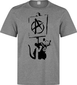 banksy street art dmc anarchy rat holding sign top men clothing top grey t shirt cool casual pride t shirt men unisex fashion