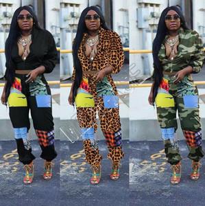 Les femmes Survêtement designers camouflage Leopard manches longues Zipper Jacket Crop Top Coat Pantalon Legging Deux Piece Set Tenues de sport Costume D81703