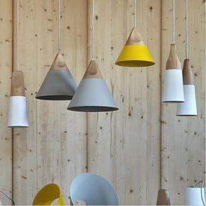 Cheap Italian Modern Wood Pendant Lights Lamparas Middle Colorful Aluminum lamp shade Dining Room Lights Cafe Bar Pendant Lamp