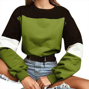 2020 New Autumn Womens Pullover Tops Long Sleeve Splcing Color Blouse O Neck Sweetshirt Harajuku sudaderas mujer