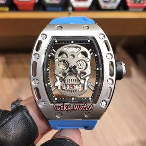 10 لون رخيصة RM052 فضة الهيكل العظمي الجمجمة رئيس الهاتفي الرجال اليابان ميوتا التلقائية ووتش RM 052 PVD حالة الفولاذ الأزرق الشريط ساعات رياضية
