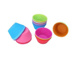 Hot sale! Round shape Silicone Muffin Cupcake Mould Case Bakeware Maker Mold Tray Baking Cup Liner Baking Molds GWD922