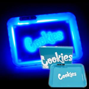 Cookies Glow Vassoio ricaricabile di rotolamento di sigaretta vassoio 550mAh Built-in della batteria della luce LED Glowtray Quick Charge Con Confezione regalo 7 colori