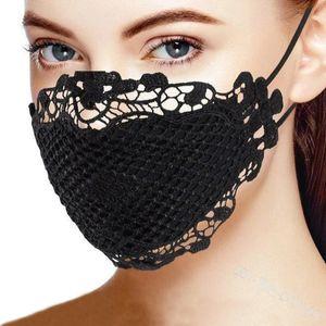 6 цветов женщины кружева печати маска для лица пыленепроницаемых противотуманных мод дышащих многоразовых защитных маски Китай оптовая LJJA1185