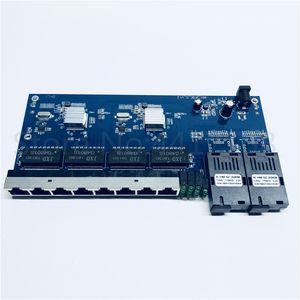 10 100 1000M Gigabit Ethernet switch Ethernet Fiber Optical Media Converter Single Mode 8 RJ45 UTP and 2 SC fiber Port Board PCB
