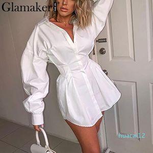 Горячие продажи Batwing рукава белой мини платья Женщина офис леди плиссированной блузка рубашка платье осень высокой талия тонкого элегантное короткое платье