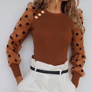 Atractiva delgada puntos de cuello redondo camisetas para mujer de moda las camisetas de malla Puff Manga diseñador camisetas de las mujeres del botón con paneles dulce