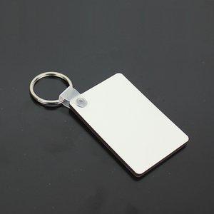 MDF Blank Schlüsselanhänger Rechteck Sublimation Holz Tags für Hitze-Presse-Übertragung Logo Doppelseitige Thermodruck-Geschenk HWE629