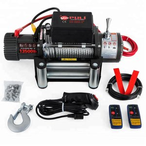 New in 2020 12v 4x4 Electric Recovery Winch 13500lb - Steel Cable - Two Remotes electric power Electric Winch