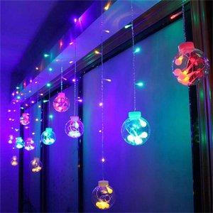 LED Perde Pencere Kapalı Bedroom Balkon Salon Dekorasyon Işık üzerinde Globe Işıklar Dize Peri Garland dileyerek