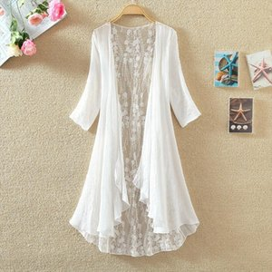 New Summer Women Hollow Out Embroidery Cardigan Casual Loose Thin Cotton Linen Cardigans Female Long Coat Jacket Plus Size A1441