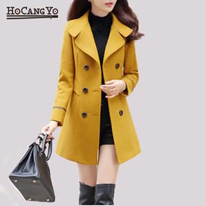 HCYO Outono Inverno Mulheres lã Coats Jackets Abotoamento Magro Outwear Brasão Womens Bodycon longo Overcoat Tops Casaco Feminino