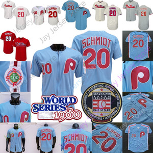 Mike Schmidt Jersey 1980 WS Baseball Hall Of Fame Patch White Pinstripe Blue Grey Pullover Button All Stitched