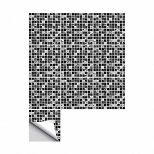 Auto-adhesivo impermeable Negro de mármol del mosaico arte de la pared del azulejo Mobiliario de cocina etiqueta de la pared de la etiqueta 15 * 15cm / 20 * 20cm personalizada de la pared Deca 2RVM #
