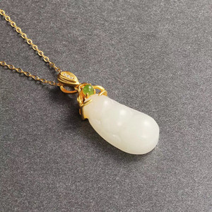 Hot Sale 2020 Chinese style Hetian jade 925 silver inlaid ancient gold Hetian jade Fudou pendant fashion accessories