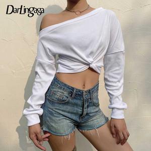 Crop camicia Darlingaga Oblique colletto a costine White T Donne Moda asimmetrico maglietta femminile Criss-cross supera i T Autunno 2020