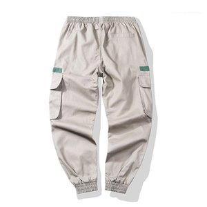 Pockets Pants Street Style Mens Casual Cargo Pants Loose Contrast Color Lacing Mens Pants With Multi Legged