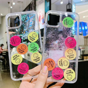 Caja del teléfono de Bling de la manera arena movediza para el iphone 11 Pro Top máx calidad TPU + PC DIY deslizante la cara sonriente Etiquetas cubierta del teléfono para el iphone X XR Xsmax