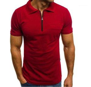 Clássico Casual Sólidos Manga Curta Camisetas Stand Up Collar Zipper Mens Verão Quick Dry Clothes Mens Polo Designer