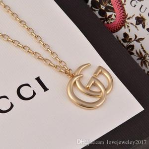 venta caliente de la joyería de lujo de las mujeres collar de G de la letra de techo de diseño versión de gama alta de la cadena de oro elegante para los hombres collares estilo de la moda pareja