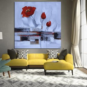 Print Modern Red Poppies White Flower Abstract Oil Painting on Canvas Pop Art Wall Picture For Living Room Sofa Cuadros Decor