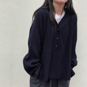 Vintage Soft V neck High Quality 2019 Retro Warm Elegant Knitted Casual Simple Tops Solid Loose Sweaters 2 Types